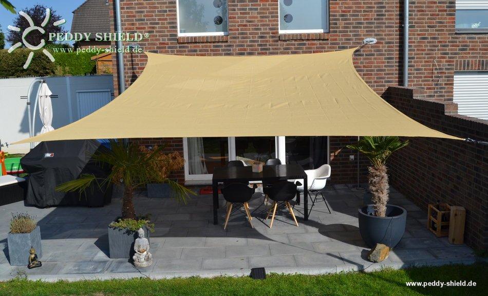 Velas cuadradas c ncavas 4 x 5 m trigo color amarillo del pa o de la cortina s lida de hdpe for Toldos impermeables