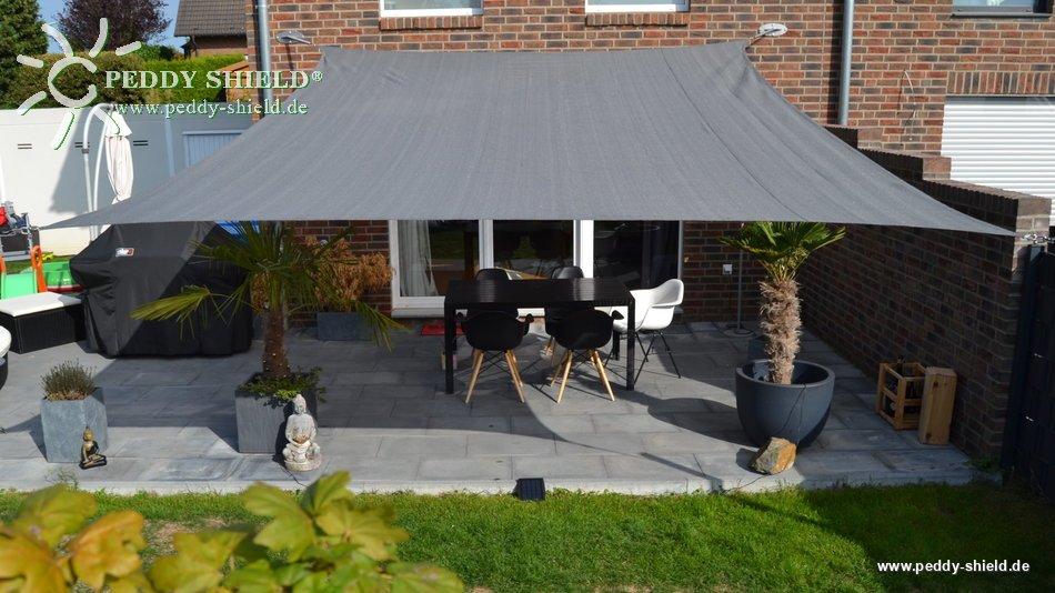 toldo vela rectangular 4 x 5 m lona sombral color gris claro - Toldo Vela Rectangular