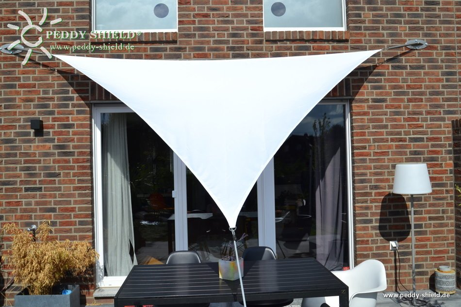 Toldo vela triangular 360 x 360 x 360 cm color blanco for Tensores para toldos