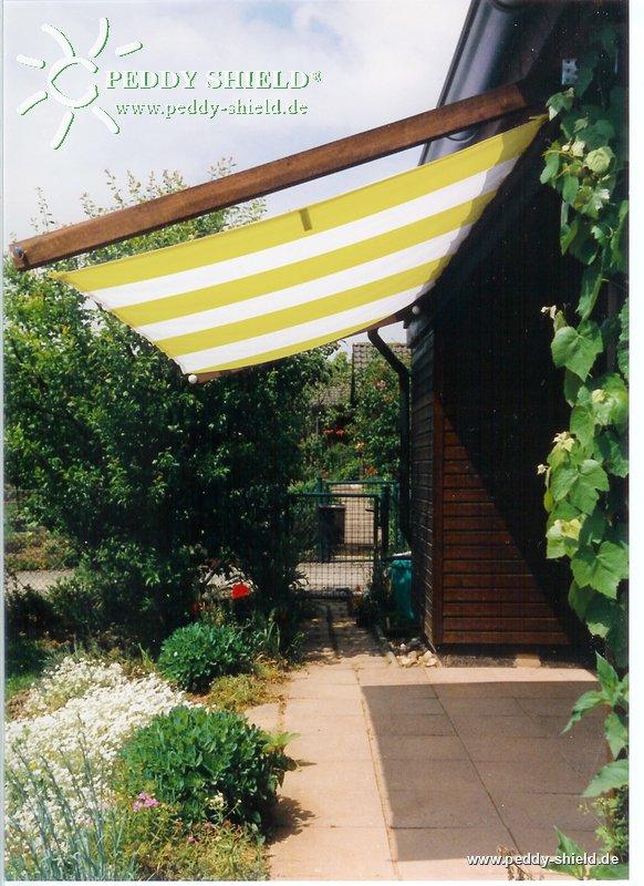 toldo de sol prefabricado 270x140 cm color blanco amarillo