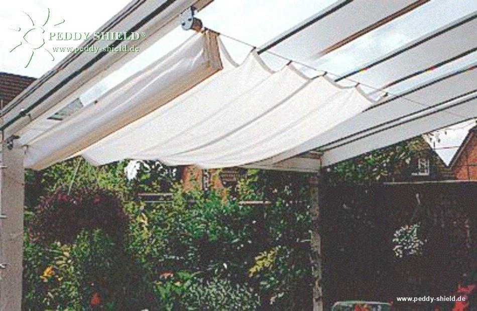 Toldo de sol prefabricado 270x140 cm unicolor gris claro for Ganchos para colgar toldos