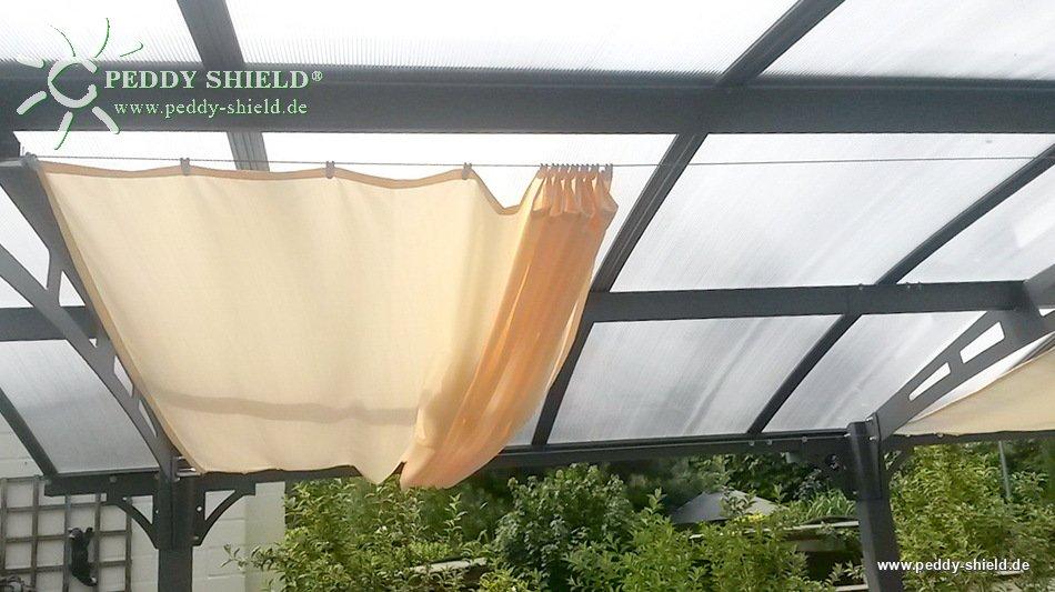Toldo de sol prefabricado 270x140 cm unicolor marfin claro for Ganchos para colgar toldos